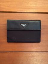 Authentic PRADA Black Leather Nylon Wallet Passport Holder - $95.00
