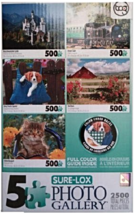 5 Pack Jigsaw Puzzles [2500 Total Pieces] Castle, Train, Animals [Brand ... - $56.12