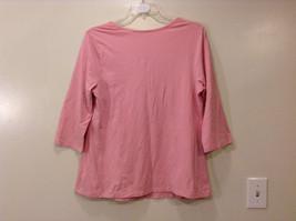 Maternity Liz Lange Stretch Pink Tee Blouse 3/4 sleeve size XXL Deep Scoop Neck image 2