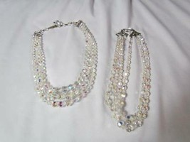 """Vtg Lot of 2 Choker  3-Strand w/ Faceted Clear Rhinestone Beads 13"""" and 13.5"""" - $18.99"""