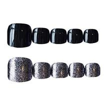 Silver/Black Party False Toenails Artificial False Nails Tips Decor Nail Art