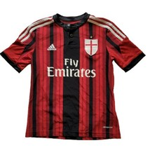Adidas Red Fly Emirates Milan Jersey Shirt Youth Medium Henley Climacool - $21.98