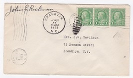 FRANKLIN N.C. JANUARY 17 1933 ON 1C FRANKLIN STAMP SIGNED BY POSTMASTER - $1.98