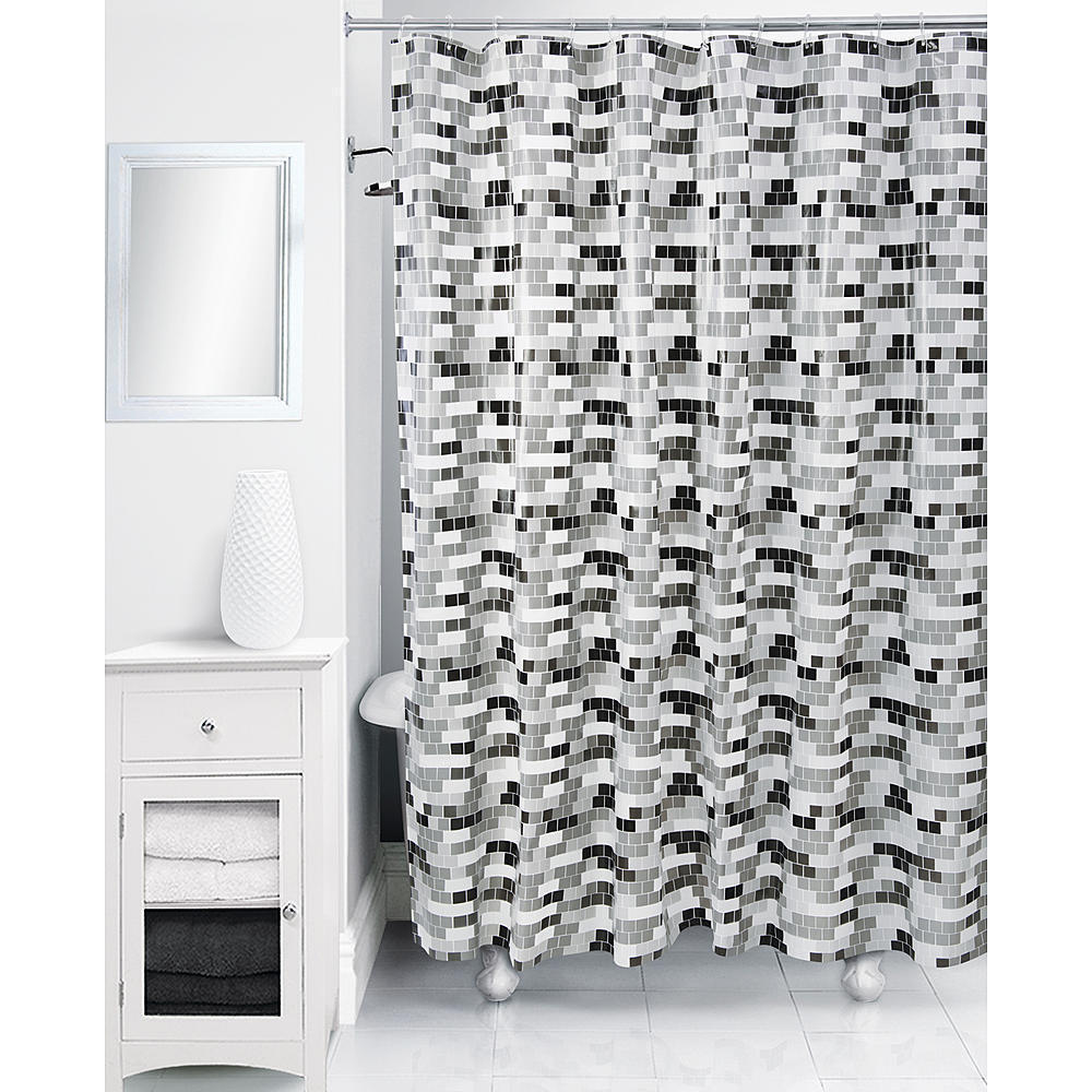 """Rubix Geometric Cube Tile Shower Curtain, Black/White, Peva 70"""" x 72"""" - NEW"""