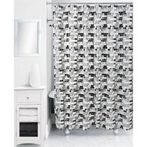"""Rubix Geometric Cube Tile Shower Curtain, Black/White, Peva 70"""" x 72"""" - NEW - $19.98"""