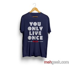 You Only Live Once Yolo Men Tee S To 3 Xl Navy - $18.00