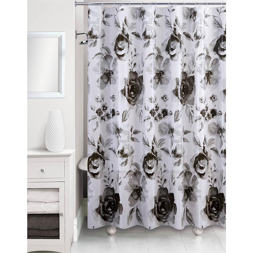 Shades Of Gray Floral Motif Shower Curtain Black White Peva 70 X 72 New Shower Curtains