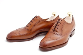 Handmade mes brown wingtip brogue formal leather shoes, Mens dress leather shoes - $159.99