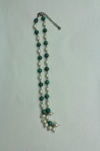 Genuine White Freshwater Pearl Turquoise Chain Gorgeous Necklace - $17.82