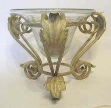 Crackle Glass Vase and Ornate Metal Stand Set - $44.54