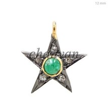 Vintage Reproduction Rose Cut Diamond 925 Sterling Silver Pave Pendant @CJUK585 - $123.73