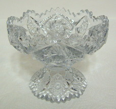 Ornate Clear Glass Candy Dish with Etching and Diecut Small - $49.00