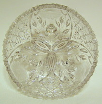 Large Ornate Clear Glass Etched Bowl - $66.82