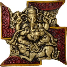 EtsiBitsi Colorful Lord ganesh on Swastik with Mouse EB_WH_004 - $25.06 CAD