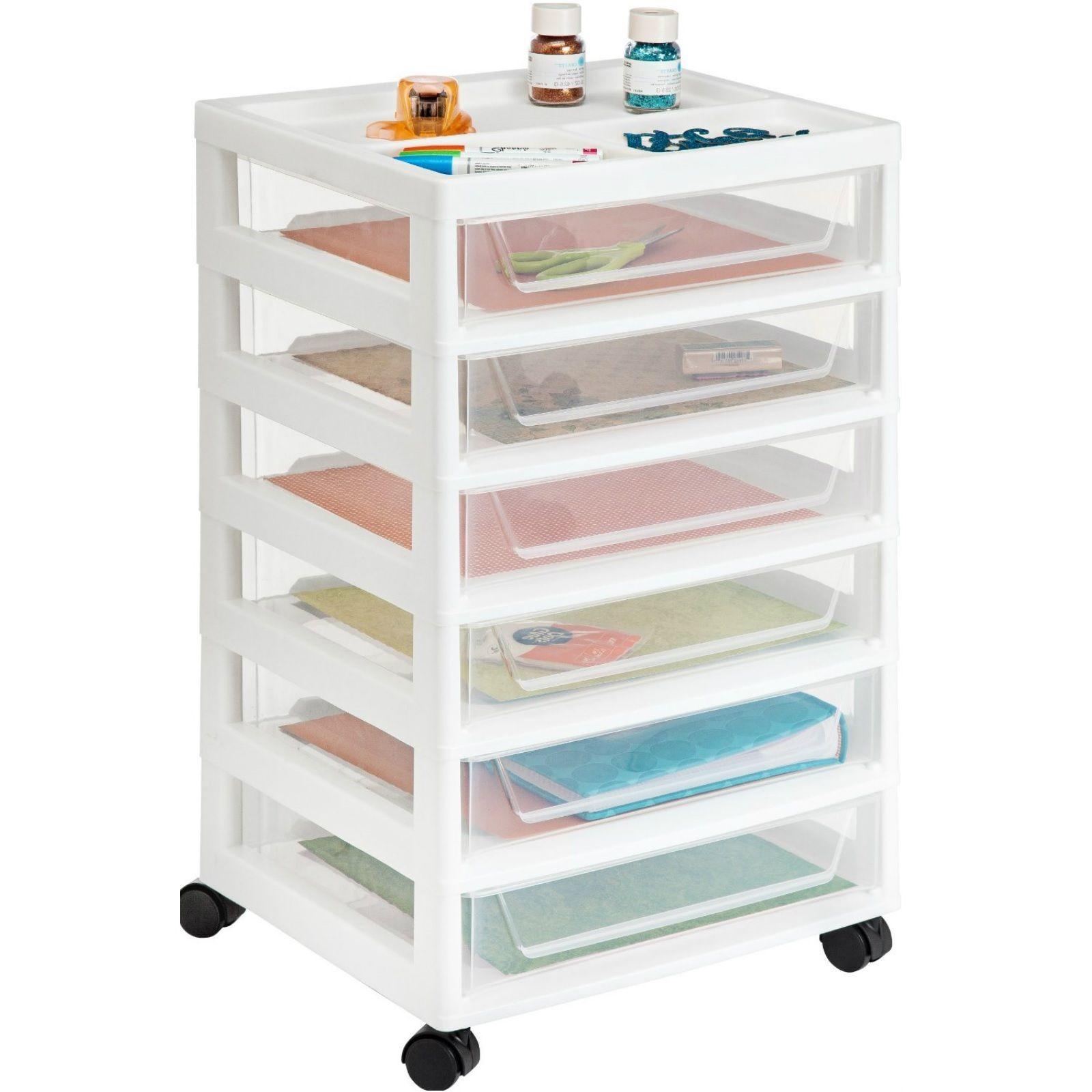 Scrapbooking supplies storage cart plastic drawers craft for Rolling craft cart with drawers
