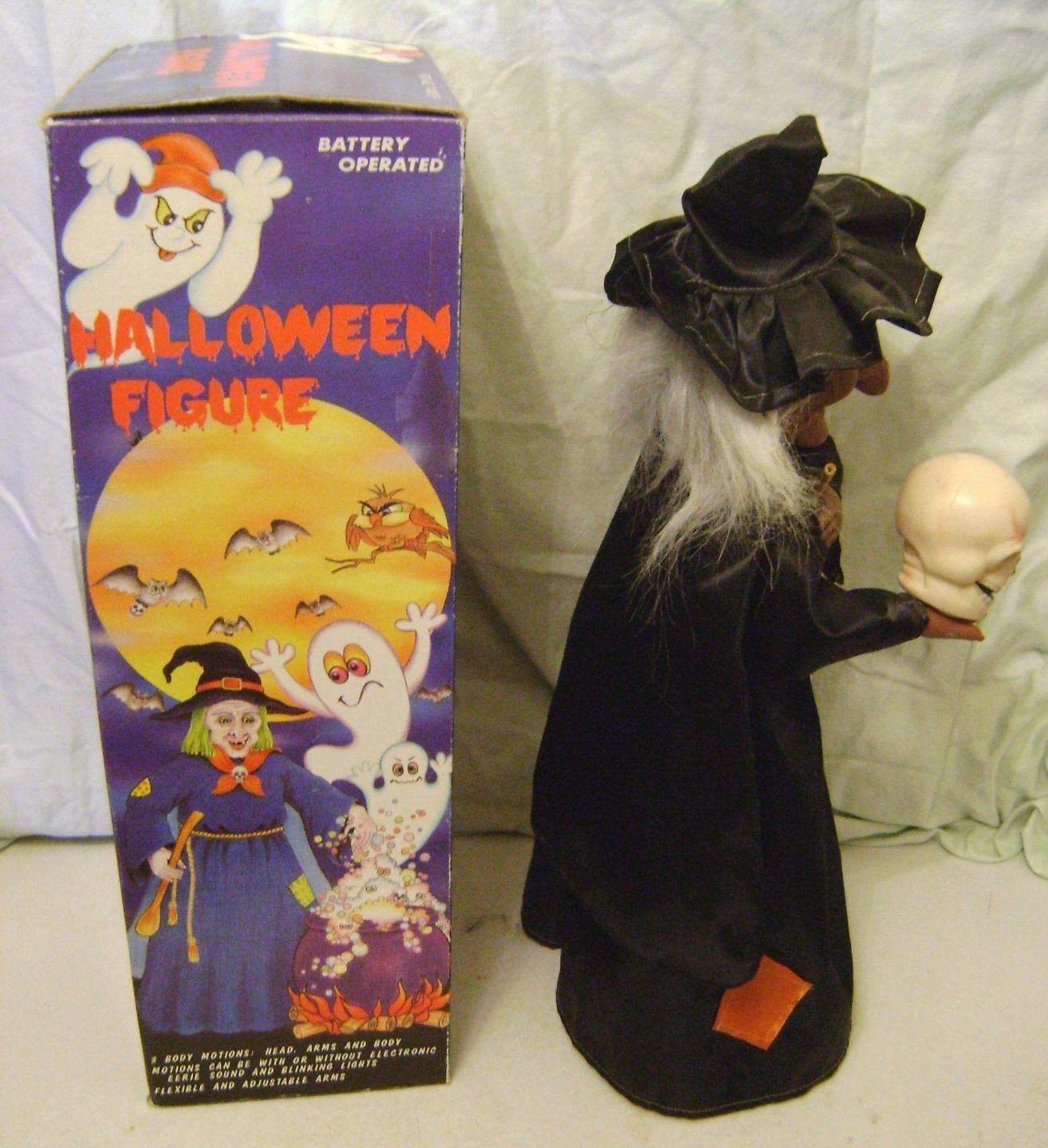 Vintage rennoc animated motionette 18 witch skull light Vintage halloween decorations uk