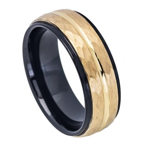 Mens Tungsten Wedding Band Ring Black Yellow Gold Hammered Comfort Fit Rings