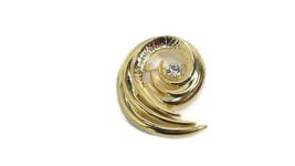 beautiful VINTAGE Gold Swirl Pin Brooch w/Sparkling Rhinestone in Origin... - $20.90