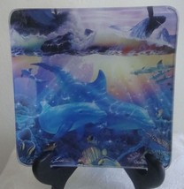 Dolphins  Whales Sea Life GLASS Collector Plate Dish Christian Riese Las... - $10.00