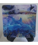 Dolphins  Whales Sea Life GLASS Collector Plate Dish Christian Riese Las... - $19.00