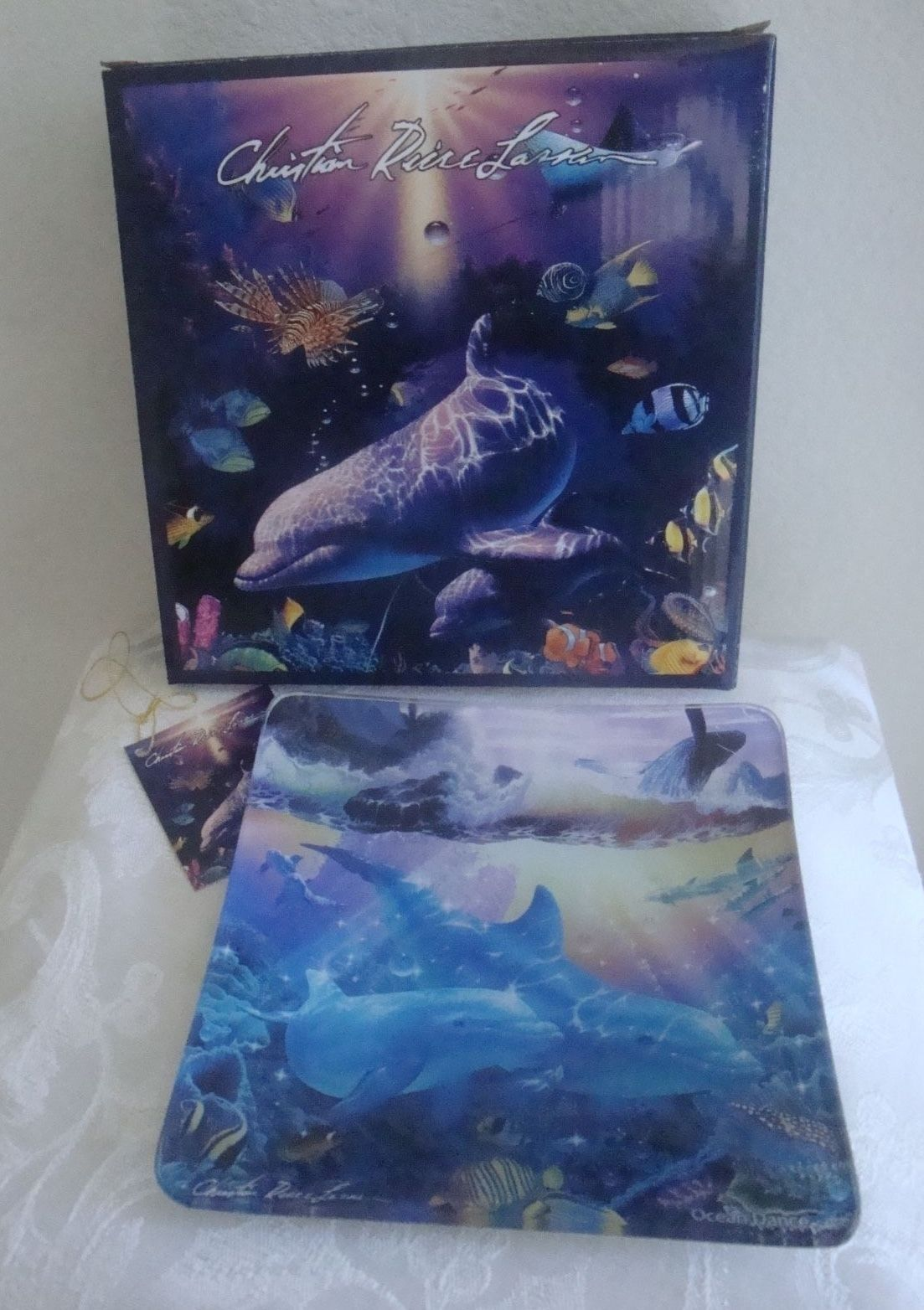 Dolphins  Whales Sea Life GLASS Collector Plate Dish Christian Riese Lassen