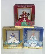 Disney Belle Snow White Cinderella Holiday Princess Doll Ornament Lot of 3 - $69.95