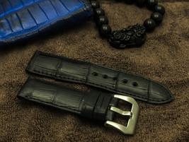 24mm/24mm Black Genuine Crocodile Belly strap f... - $99.00