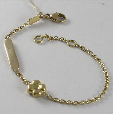 SOLID 18K YELLOW GOLD BRACELET FOUR-LEAF CLOVER, PLATE ENGRAVING, MADE IN ITALY
