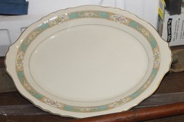"Vintage~Federal Shape Syracuse China~ Green Raleigh Deep Oval  14"" Platter  - $12.52"