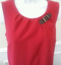 TOMMY HILFIGER Women's Candy Cane Shift Red Dress Buckle Sleeveless Size 6 $99  image 3