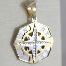 Gelb Gold Anhänger Weiß 750 18K, Pink der Zwanzig, Kompass image 1