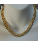 Vintage Gold-tone Blue Rhinestone Chain Link Necklace  - $26.24
