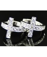 10k Ladies White Gold Fn Sim Diamond Pave Set Cross Hoop Huggie Earrings... - $89.99