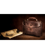 Personalized Genuine Leather Mens Briefcase Laptop Business Bag - $194.00