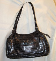 Maxx New York Black Croc Embossed Leather Shoulder Bag