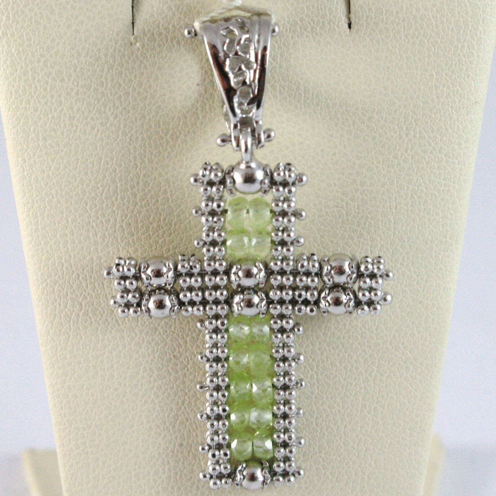 Charm Pendant Silver 925, cross Finely Worked Soft, Spheres, Peridot