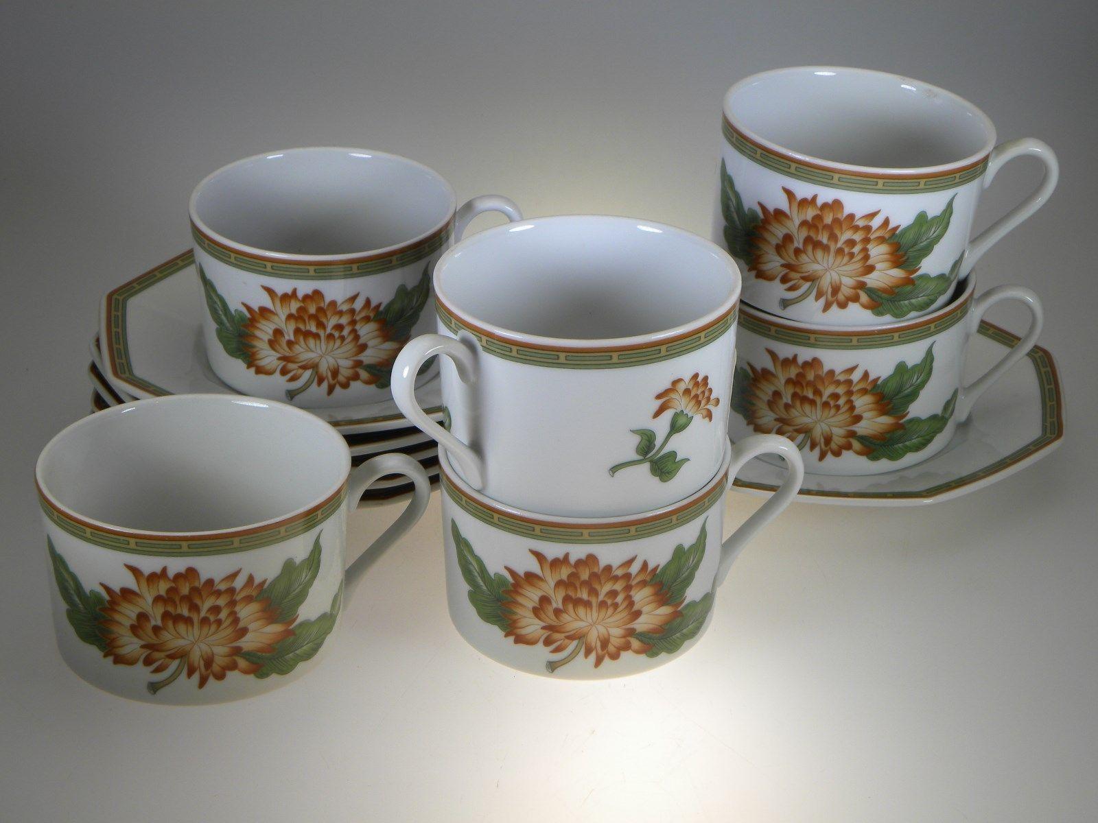 Fitz u0026 Floyd Chrysantheme Tea Cups u0026 Saucers Set of 6 - $49.51 & Fitz Floyd China: 35 listings