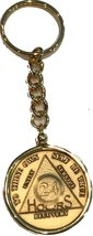 24 Hours AA Serenity Prayer Medallion Keychain Chip Holder Gold Plated - $12.37