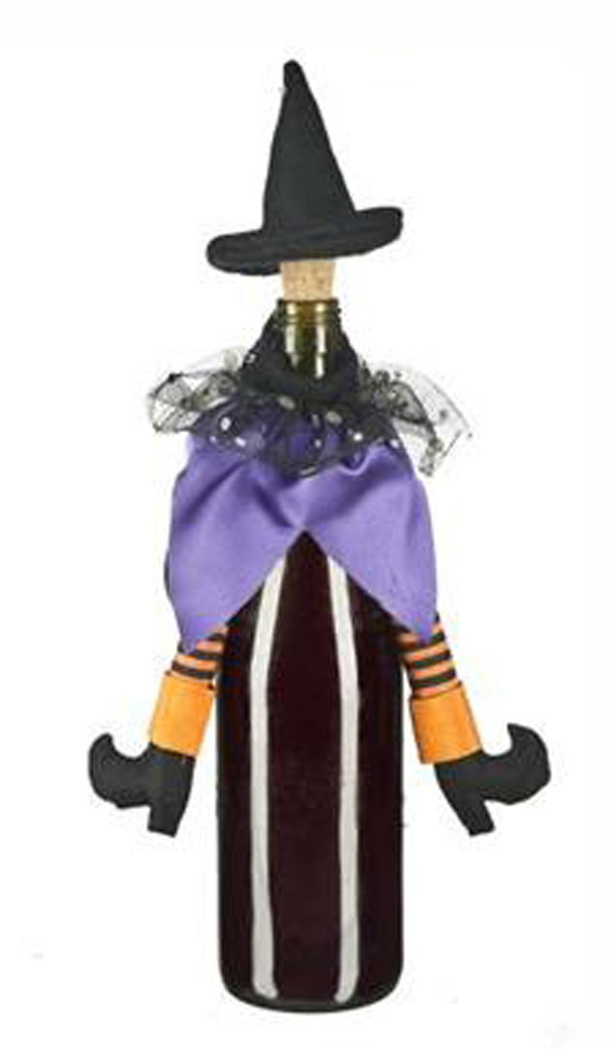 Purple & Orange Wicked Witch Halloween Wine Bottle Decoration & Cork [Brand New]