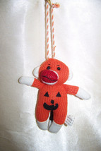 Halloween Small pumpkin sock monkey ornament toy - $5.32