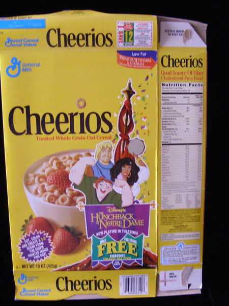 cheerios cereal box 2 listings