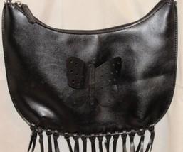 Solid Black Butterfly Fringe Shoulder Bag/Purse