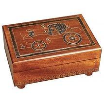 Vintage Car 1800's Wooden Box Polish Secret Trick Keepsake Handmade Linden Wo... - $47.51