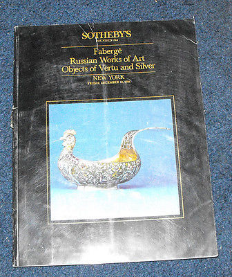 Sotheby's faberge russian works of art auction catalog Objects of vertu & silver