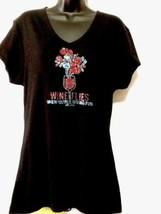 Wine Theme Fun Women's XXL Black Cotton Vneck S... - £9.36 GBP