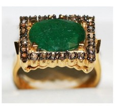 Vintage Look Handmade Rose Cut Diamond 925 Sterling Silver Emerald Ring ... - $5.215,79 MXN