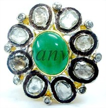 Vintage Style 1.0Ct Rose Cut/Polky Diamond Sterling Silver Emerald Ring ... - $5.706,04 MXN