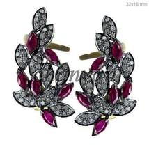 Vintage Look 2.16Ct Rose Cut Diamond 925 Silver Ruby  Earcuff Earring @C... - $5.385,05 MXN