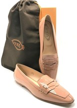 TOD'S Tapered Toe Penny Loafers in Neutral Pink Patent Leather US SZ 7M ... - $135.00