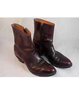 MENS HIPSTER ZIP UP HALF COWBOY BOOTS Maroon size 8 1/2 C all LEATHER US... - $42.06